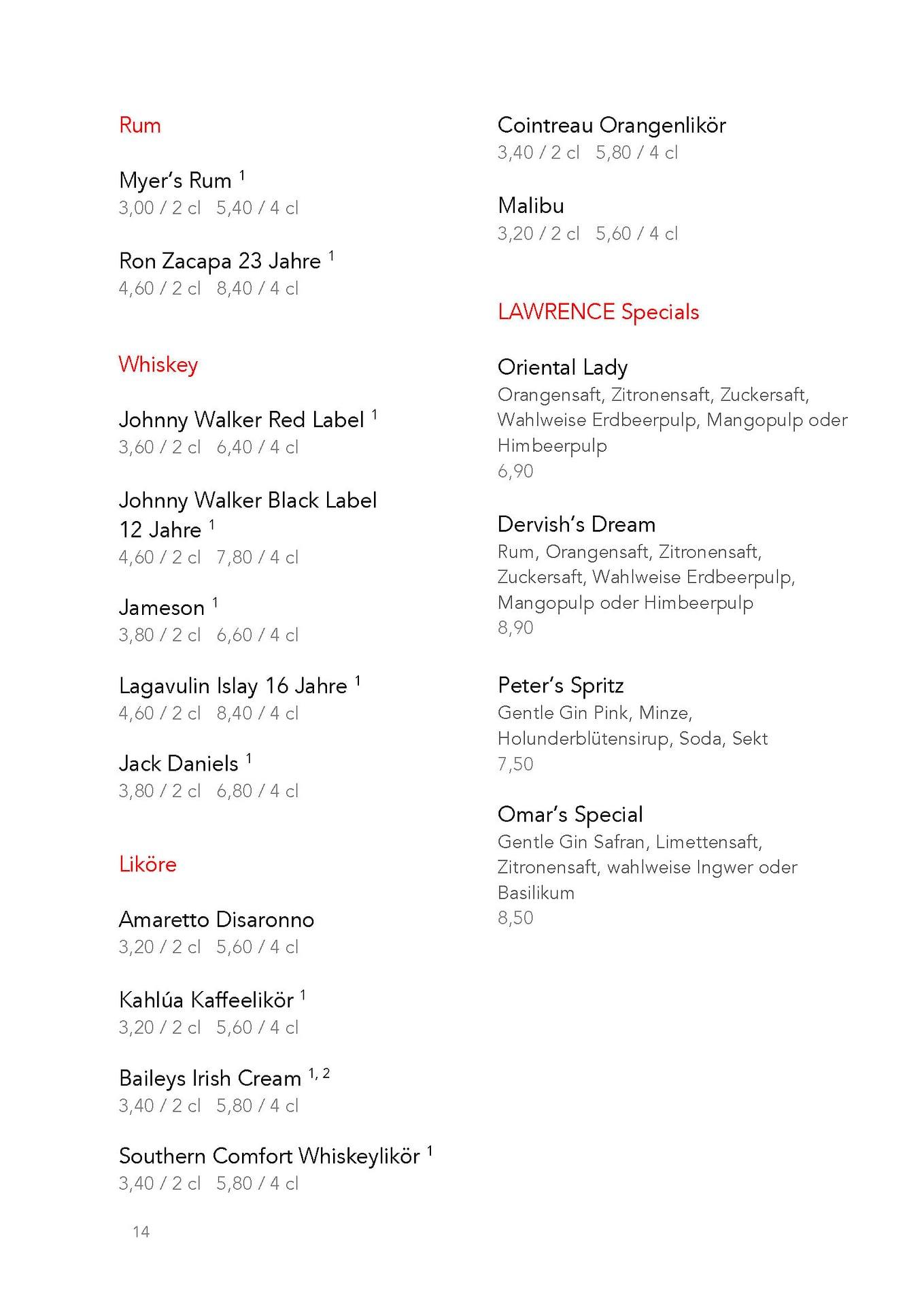 LAWRENCE berlin mitte arabisches restaurant arabic restaurant menu speisekarte catering drinks getränke getränkekarte